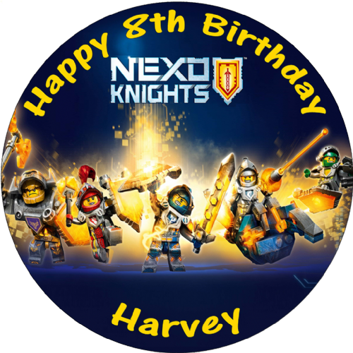 NEXO KNIGHTS PERSONALISED ROUND EDIBLE CAKE TOPPER
